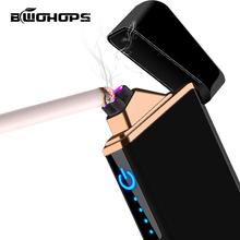Electronic USB Pulsed Lighter Dual Arc Rechargeable Cigarette Smok Windproof  Isqueiro Plasma Current Beam Ligther Customizable