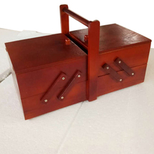 Cantilevered домашний косметический чехол большой емкости с ручкой деревянная швейная коробка потертый Органайзер многослойная для хранения путешествия Винтаж