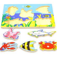 Board Jigsaw-Puzzle Fish-Magnet-Toy Outdoor Game Wooden Educational Child for Gift Juguetes