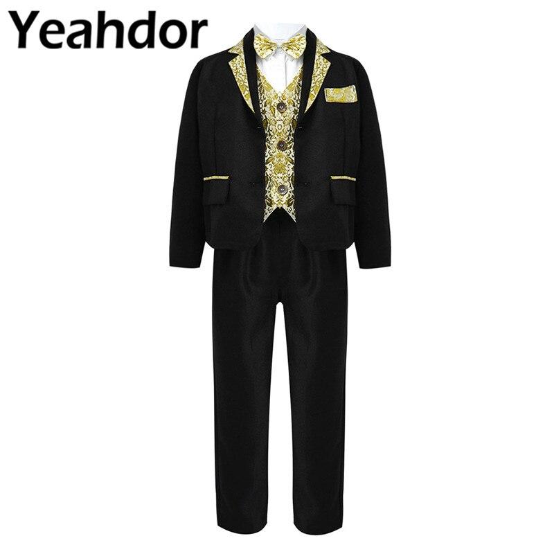 5Pcs Kids Boys Wedding Party Suit Boy Performance Costume Bowtie Shirt Vest Pants Gentleman Suit Blazers Jackets With Gold Rims