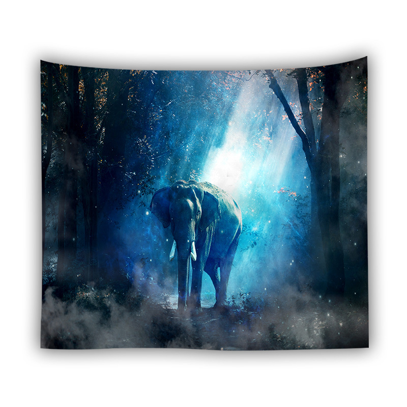 Animals 3D Printed Wall Hanging Tapestry Indian Elephant Wolf Tiger Series Cloth Tapestries Dorm Bedroom Art Decor Yoga Mat