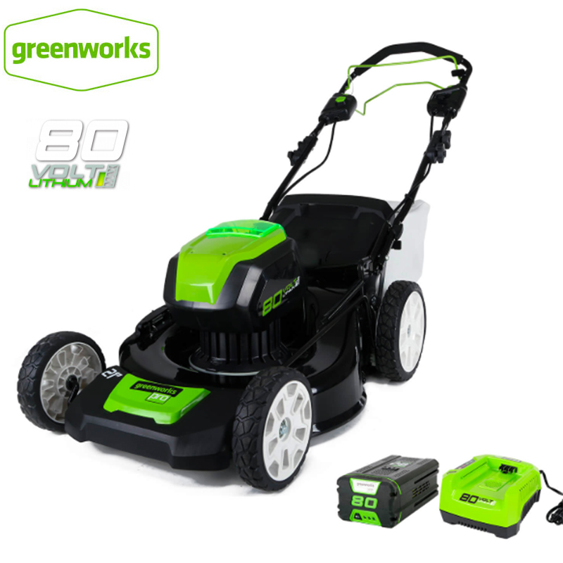 Greenworks 80V Cordless Brushless Lawn Mower Steel Deck 21inch 3-in-1 Mulch, Rear Bag, And Side Discharge With 5.0ah Battery