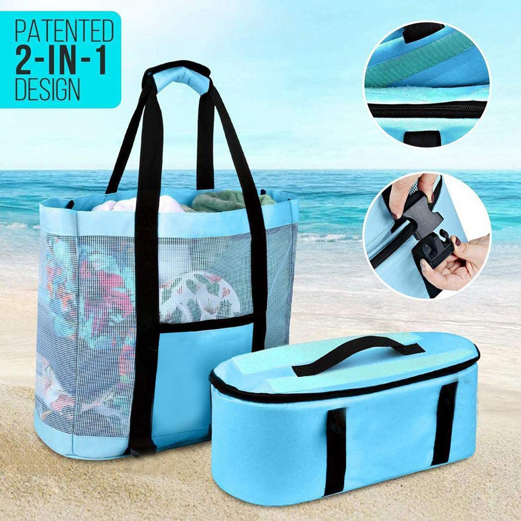 Outdoors Camping Beach Mesh Picnic Bags With Detachable Cooler Insulation Fresh-keeping Bag Packing Organizer кемпинг 2021