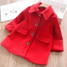 Осенне-зимнее пальто с лацканами для девочек Детская куртка