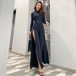 Le Palais Vintage 2020 New Long Sleeve Black High Street Sexy Jumpsuit Sides Split Full Length Skinny Fashion Jumpsuits