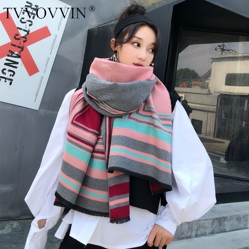 TVVOVVIN 2019 Autumn Winter New Double Sided Geometry Large Size For Women Warm Thickening Shawl Scarf M0019