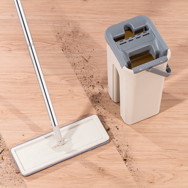 Mop-Bucket Mop-Pads Microfiber-Mop-System Hand-Free-Brush Floor-Cleaning Flat 4-Washable
