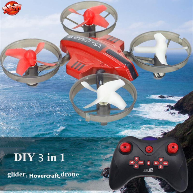 Kids DIY Fixed Wing 3 In <font><b>1</b></font> Electric Wireless Control RC Glider Model Toy 2.4G Land Sky Mode Remote Control RC Drone Hovercraft image