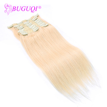 BUGUQI Hair Clip In Human Extensions Indian #60 Remy 16- 26 Inch 100g Machine Made