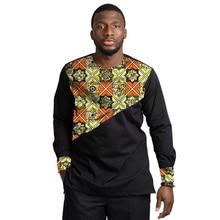African Print Shirt Mens Dashiki Tops O-neck Patchwork Black&Wax Africa Clothing Custom Made Ankara Outfit