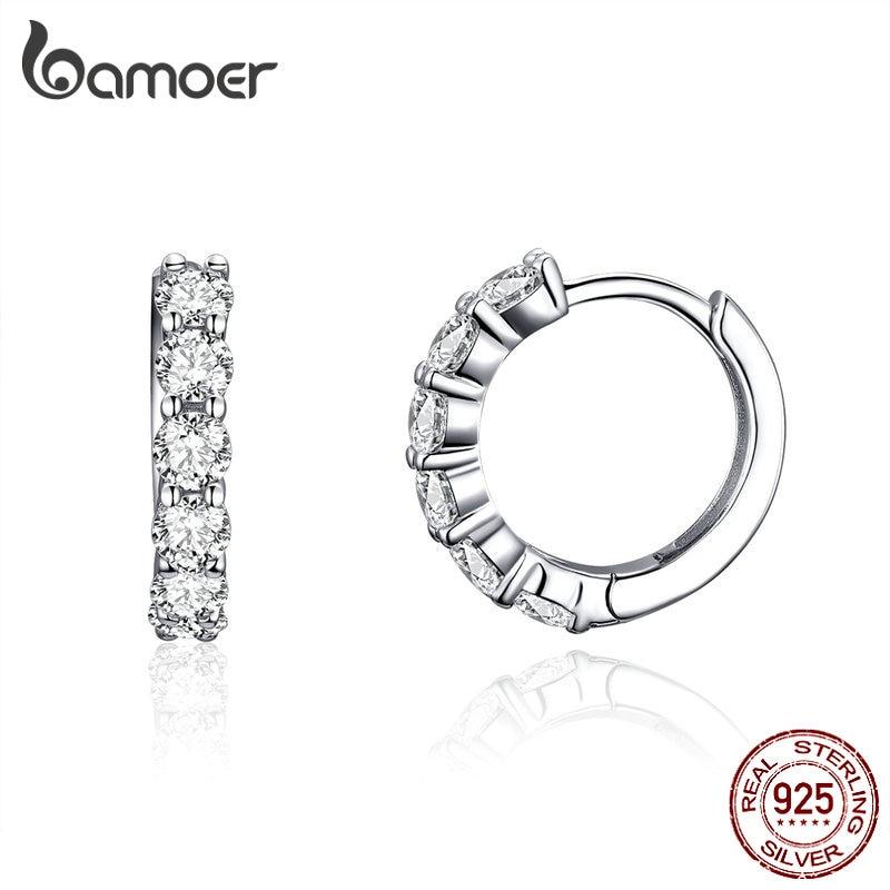 BAMOER Wedding Hoop Earrings For Women Sterling Silver 925 High Quality Cubic Zirconia Tiny Ear Hoops Statement Jewelry SCE524