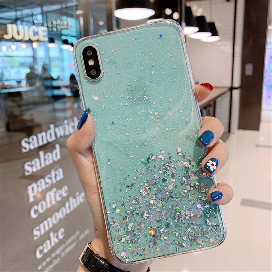 Ha71a564c19bb46df9802f8615c840633P - iPWSOO Glitter Foil Powder Case For iPhone 11 Pro XS Max XR X Bling Phone Case For iPhone 11 8 7 6 6s Plus Soft TPU Clear Cover