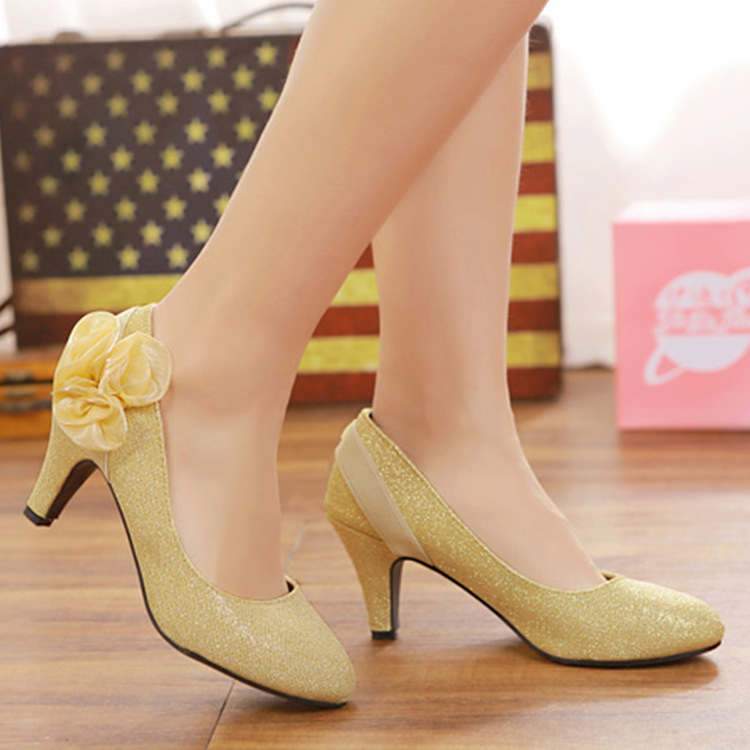 6161-5 Hun Sha Xie Red Chinese Style Wedding Shoes Bride Marriage Shallow Mouth Shoes Women's Wedding Wedding High-Heel Shoe