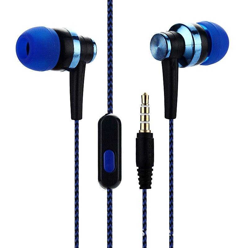Универсальный сабвуфер, цветная гарнитура, проводной провод в ухо, плетеный провод, наушники для смартфона, для Android