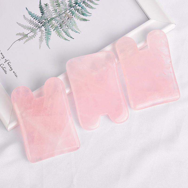 Natural Jade Gua sha Stone Board Massage Rose Quartz Guasha Plate Jade Face Massager Scrapers Tools For Face Neck Back Body