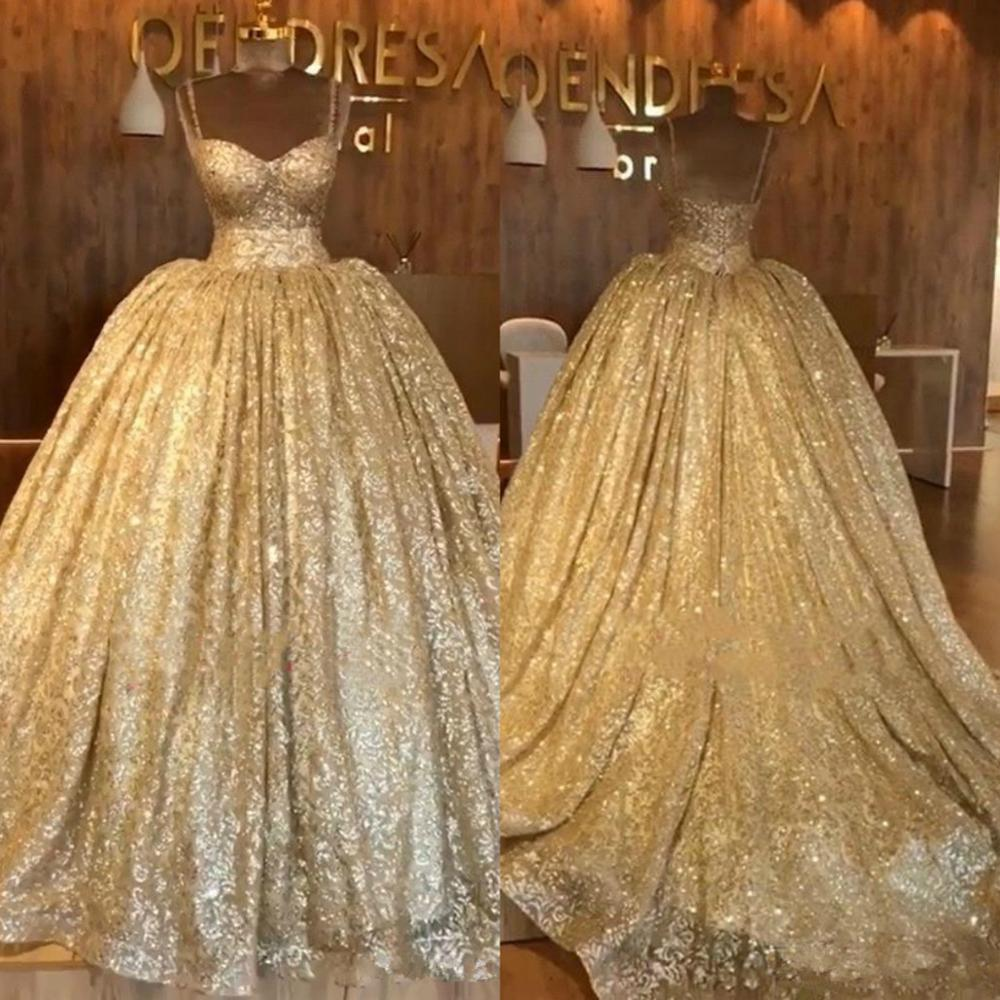 2020 Blingbling Gold Sequined Prom Dresses Dubai Arabic Ball Gown Evening Gowns With Sweep Train Spaghetti Strap Formal Party