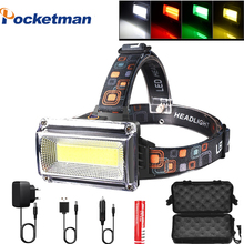Super powerful COB LED Headlamp DC Rechargeable Head Lamp Torch Headlight 18650 Battery Hunting Camping Waterproof Lighting