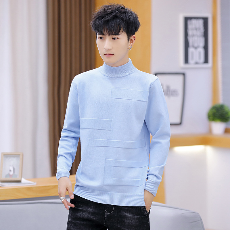 Pink Sweater Men White Yellow Pullovers Red Black Red Autumn Leisure Long-sleeved Sleeve High Colla Mens Sweaters Solid