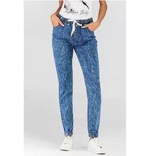 Брюки женские повседневные штаны на шнуровке модные джинсовые