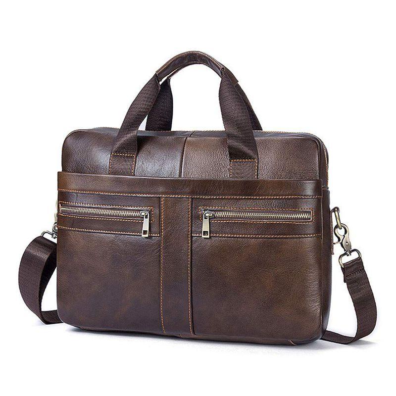 14 Inch Genuine Leather Handbag Briefcase Laptop Document Holder Men Business Women-Brown