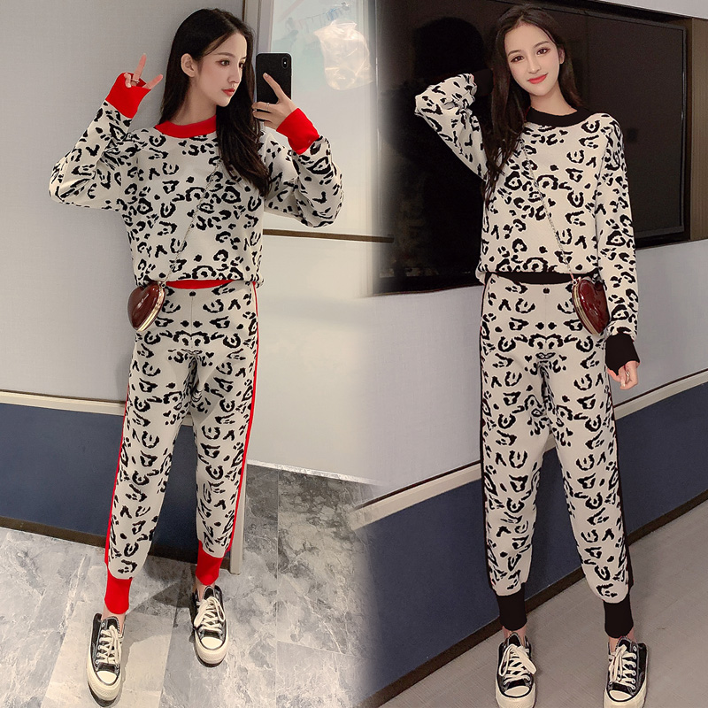 Sweater Suit Women's 2019 New European Stand Leopard Style Foreign Leisure Knit Sports Suit Two-piece Trend
