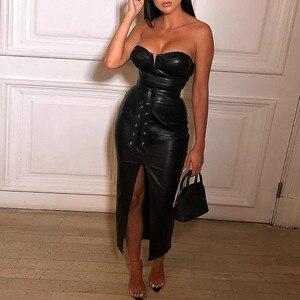 Black Club Dress Women Strapless Sexy Skinny Bodycon Rivet Sashes Split Front PU Sleeveless Slim Fit Lady Party Robe Vestidos