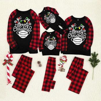 Pijamas familiares de Navidad 2020 con estampado de letras a cuadros, blusa + Pantalones, ropa para Familia, pijamas, ropa para Familia