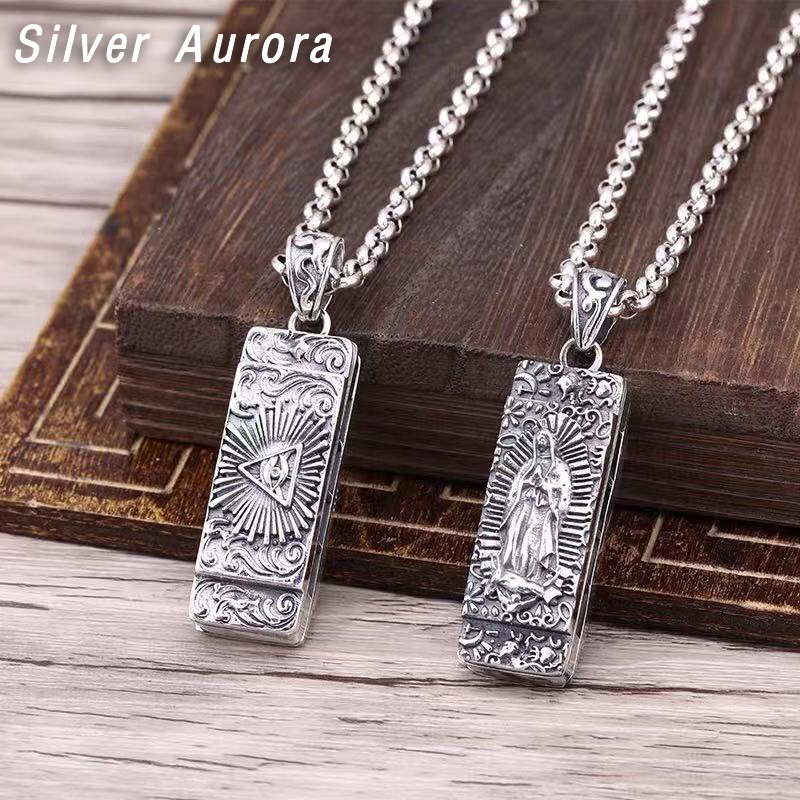Solid Sterling Silver 925 Necklace Jesus Praying hands Pray for us Jewelry  New