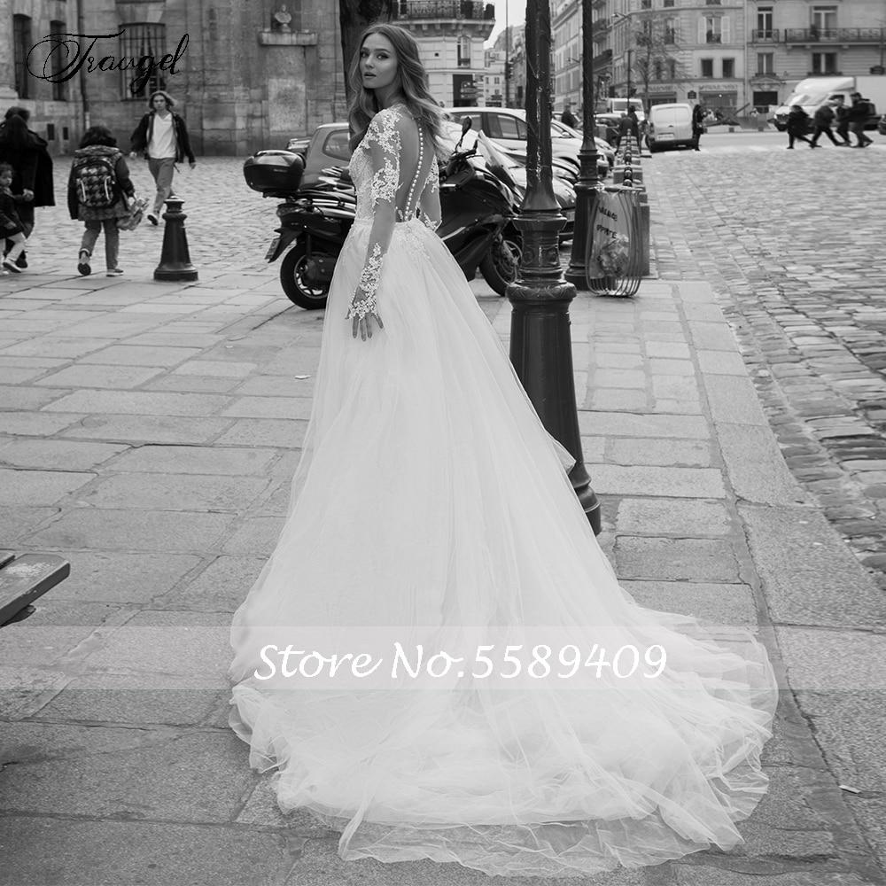 Image 2 - Traugel Scoop Mermaid 2 IN 1 Wedding Dresses Applique Long  Sleeve Lace Bride Dress Detachable Court Train Bridal Gown Plus SizeWedding Dresses   -