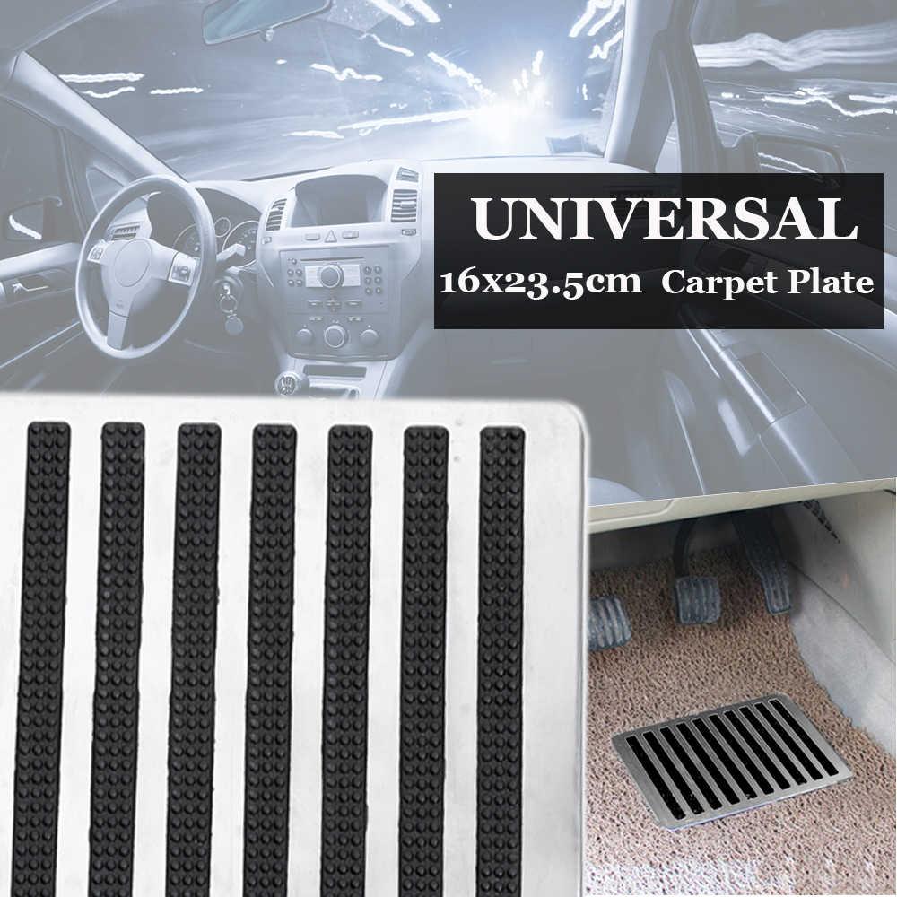 23,5X16 cm Universal de acero inoxidable para el suelo del coche alfombrillas de parche Placa de tacón almohadillas de Pedal para el suelo interior del coche alfombra de parche Pedal de pie