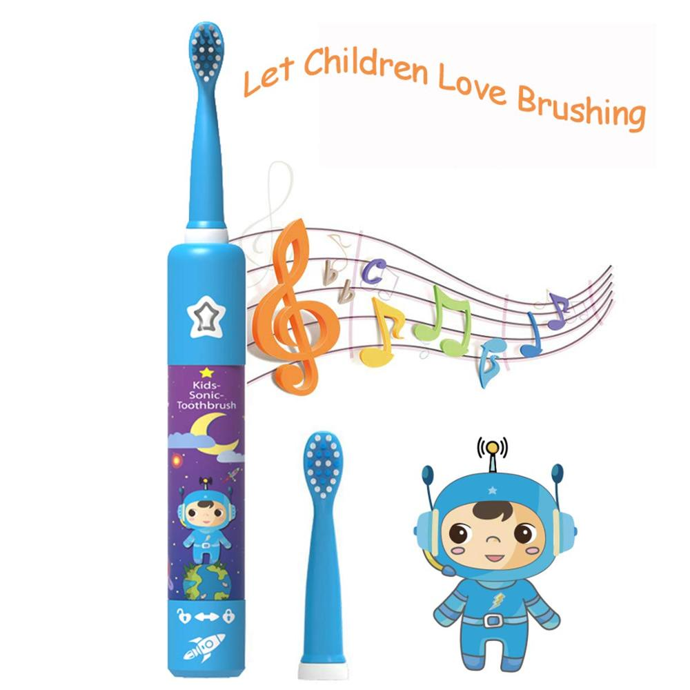 Electric Toothbrush for Children Dental Cleaning Brush Kids Ultrasonic USB Rechargeable Child Cartoon Pattern Waterproof Travel image
