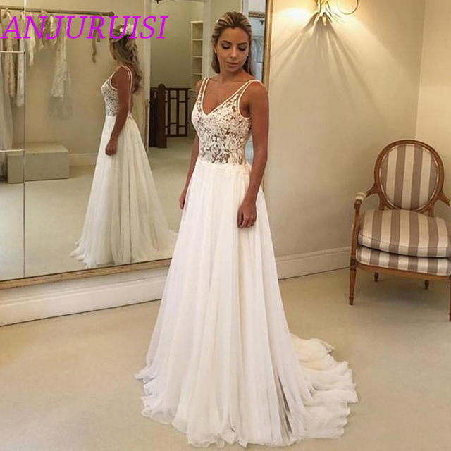 Beach Wedding Dresses Lace Appliques V Neck