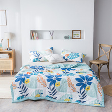 Summer Washed Quilt Polyester Air-conditioning Comforter Soft Breathable Cool Blanket Thin Blanket Print Bedspread Bed Cover