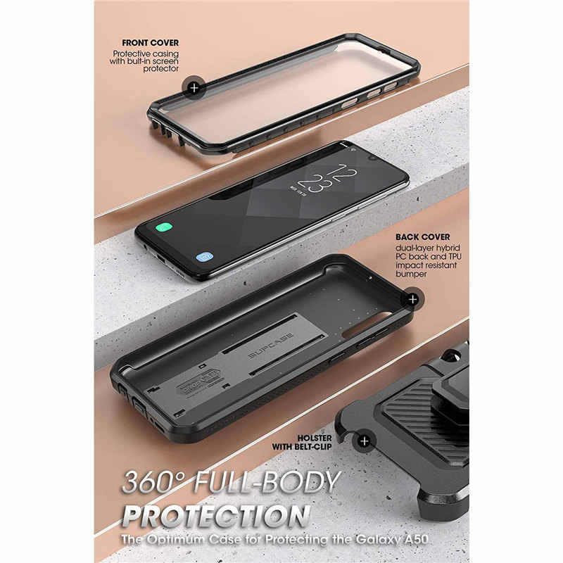 SUPCASE Para Samsung Galaxy Caso A50 (2019 Release) UB Pro Full-Corpo Robusto Caso com Protetor de Tela Embutida & Kickstand Coldre