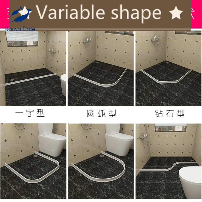 Bathroom Water Stopper Flood Barrier Rubber Dam Silicon Water Blocker Dry and Wet Separation Home Improve Dropshiping 2021-0