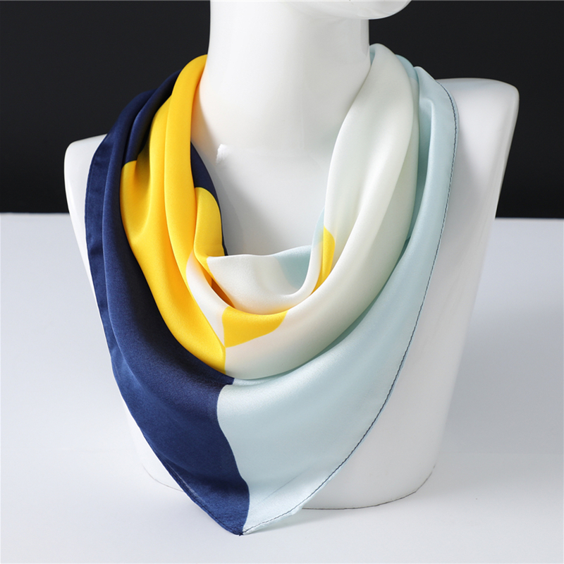 Solid Women Silk Scarf Neck Hair Band Office Lady Foulard Neckerchief Tie 70cm Square Headband Foulard Designer Scarves