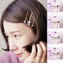 3 Pcs/Set Korean Style Girls Barrettes Crystal Rhinestone Hair Clips Barrettes Hairpins For Women Headwear Hair Accessories