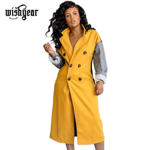 Wishyear Color Patchwork Double Breasted Long Woolen Coat 2019 Winter Women Turn Down Collar Warm Outerwear Female Overcoat