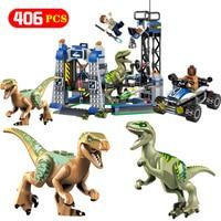 Technic Jurassic World 2 Model Building Block Compatible Legoingly Raptor Escape Breakout 75920 Bricks Toys For Children Gift