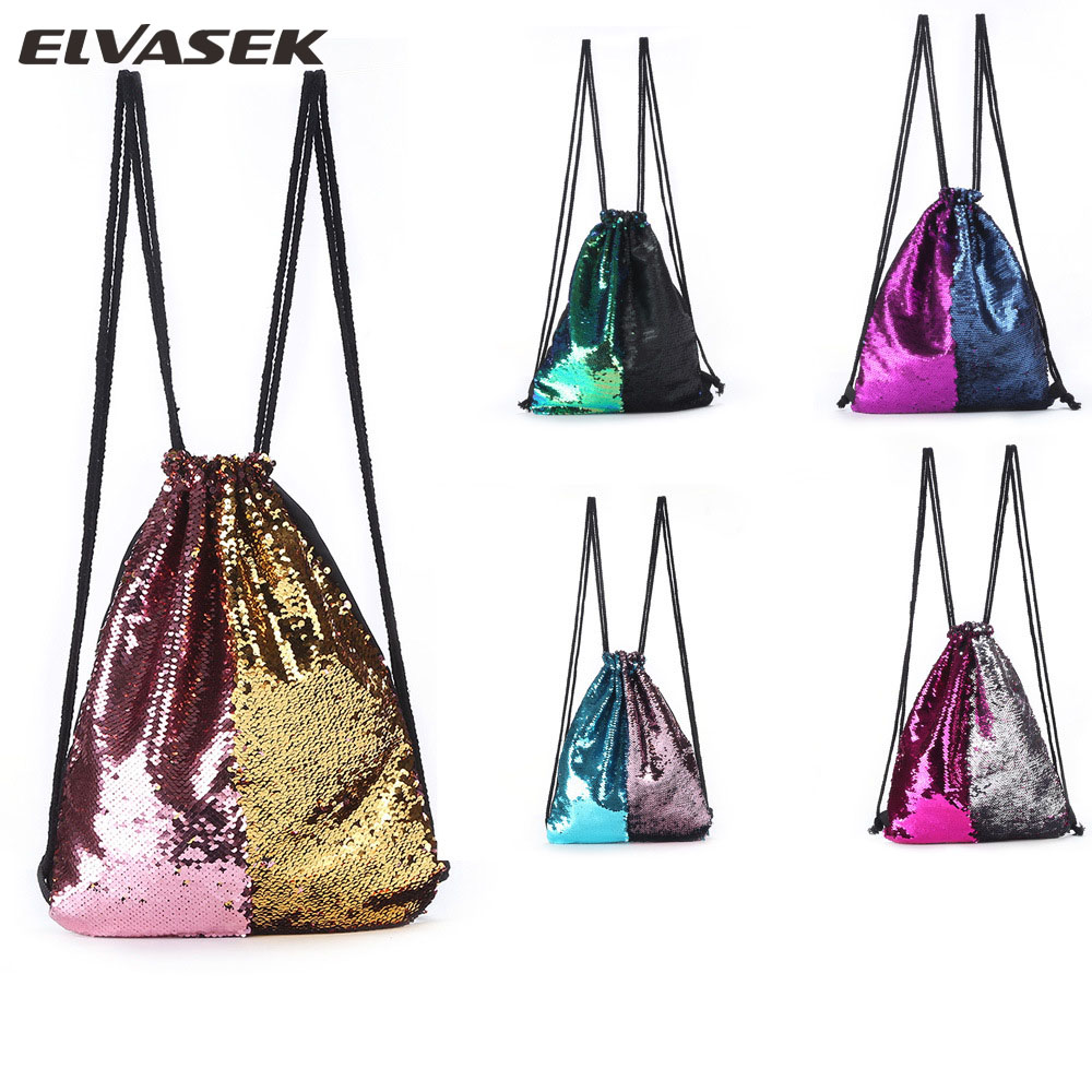 ELVASEK Sequin Backpack Mermaid-Two-Color Colorful Outdoor Fashion Ladies String New