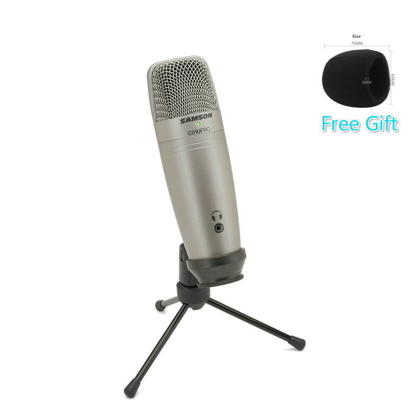 100 Original Samson C01U Pro USB Super Condenser Microphone Real time Monitoring Condenser MIC For Broadcasting