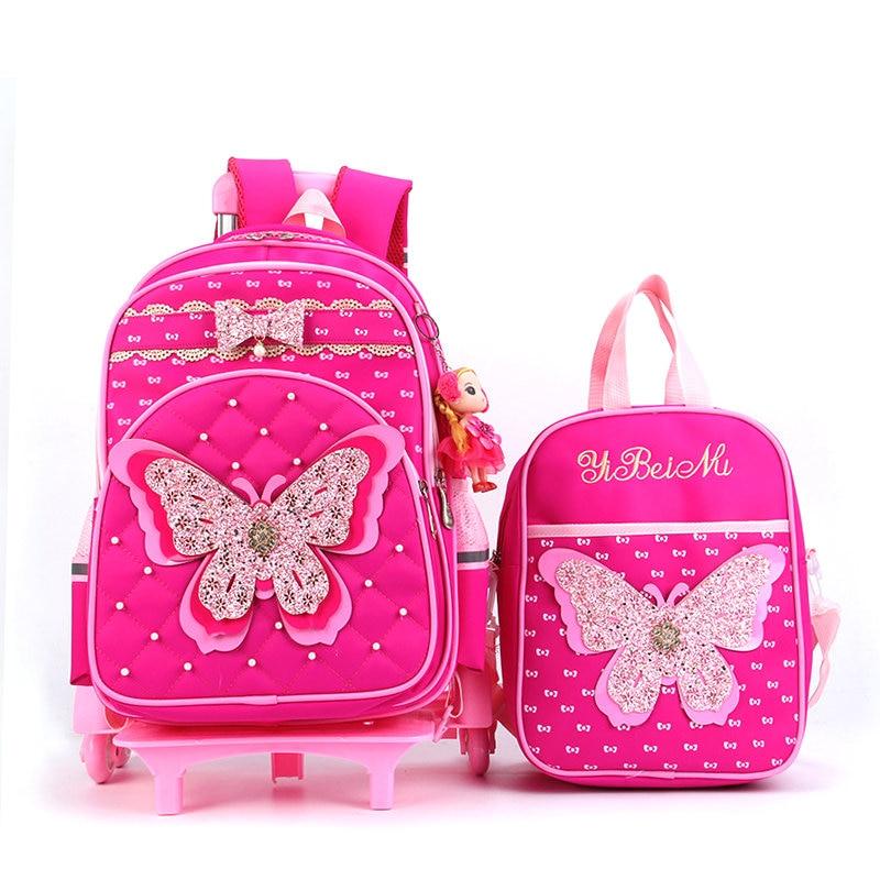 2020 блестящая детская школьная сумка на колесах с рисунком бабочки Детские ранцы