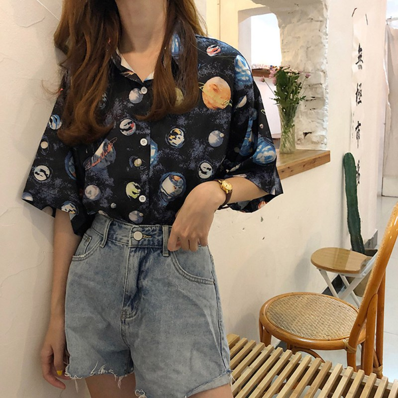 Summer Women Casual Blouse Short Sleeve Cartoon Planet Print Blouses Short Sleeve Lapel Shirt Women Tops Loose Casual Bluas