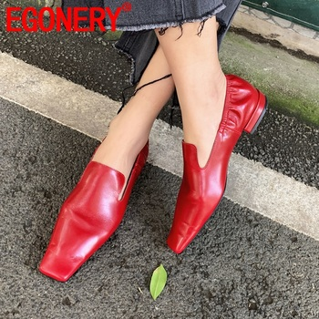 EGONERY woman Pleated mules shoes leather red brown flats women's shoes 34-40 size shoes 2020 spring European women's shoes