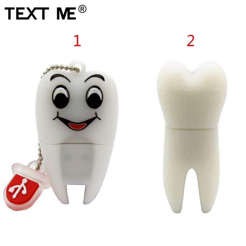 TEXT ME Cartoon 2 Model Tooth  Usb 2.0 Usb Flash Drive 4GB 8GB 16GB 32GB 64GB Pendrive  Usb Flash Drive
