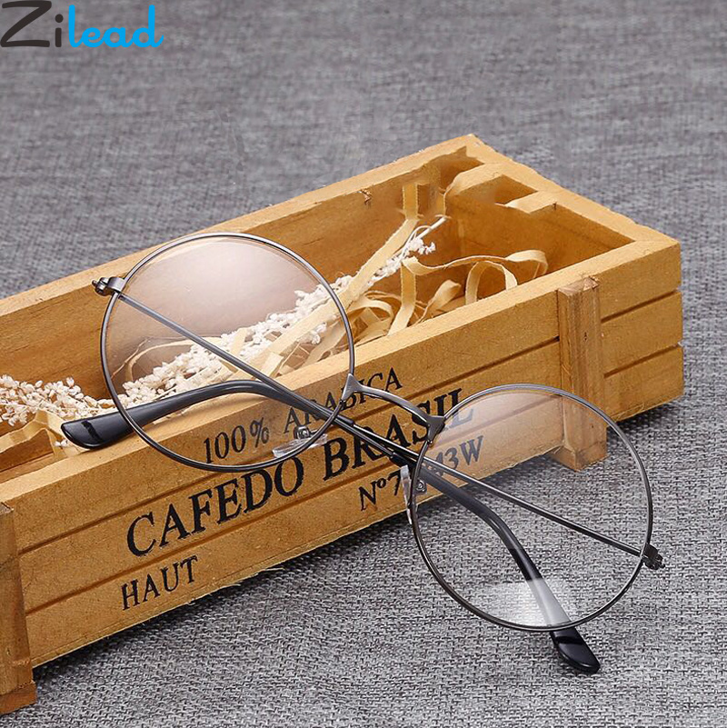 Zilead Metal Finished Myopia Glasses Round Nearsighted Eyeglasses Men Women Shortsighted Eyewear With Diopter -1.0to -4.0