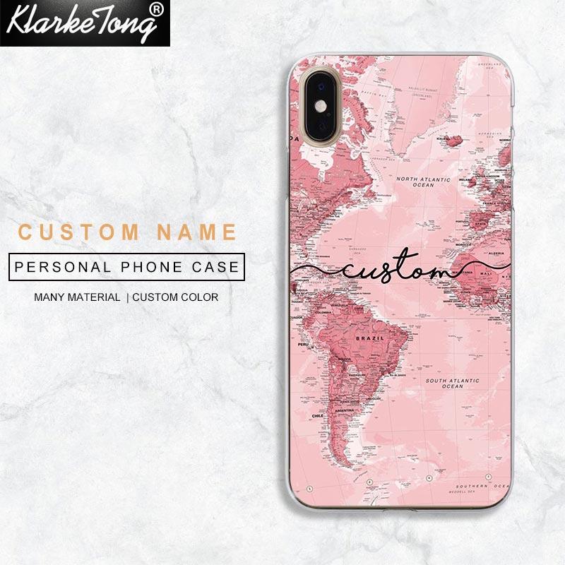 DIY Розовый пользовательский карта мира чехол для телефона для iPhone 11 7 8 Plus Xs Max 6 6s Plus Xr 5 5S Se противоударный стеклянный чехол