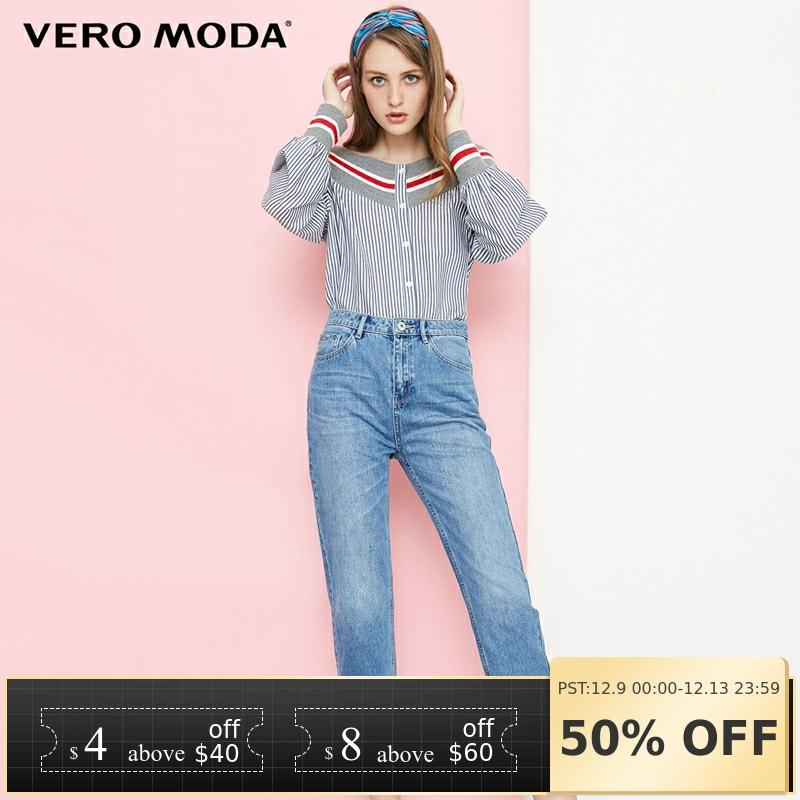 Vero Moda 2019 New Women's Decorative Ring High Waist Straight Fit Cropped Jeans | 318349551