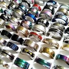卸売 50 ピース/パック混合スタイル男性の女性のステンレス鋼リング 100% 満足指輪デザインミックスサイズラベル