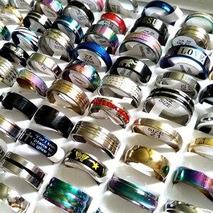 Image 1 - Groothandel 50 stks/pak Gemengde Stijl Mannen vrouwen Rvs Ringen 100% Voldoen Ringen Ontwerp Mix Met Maat label